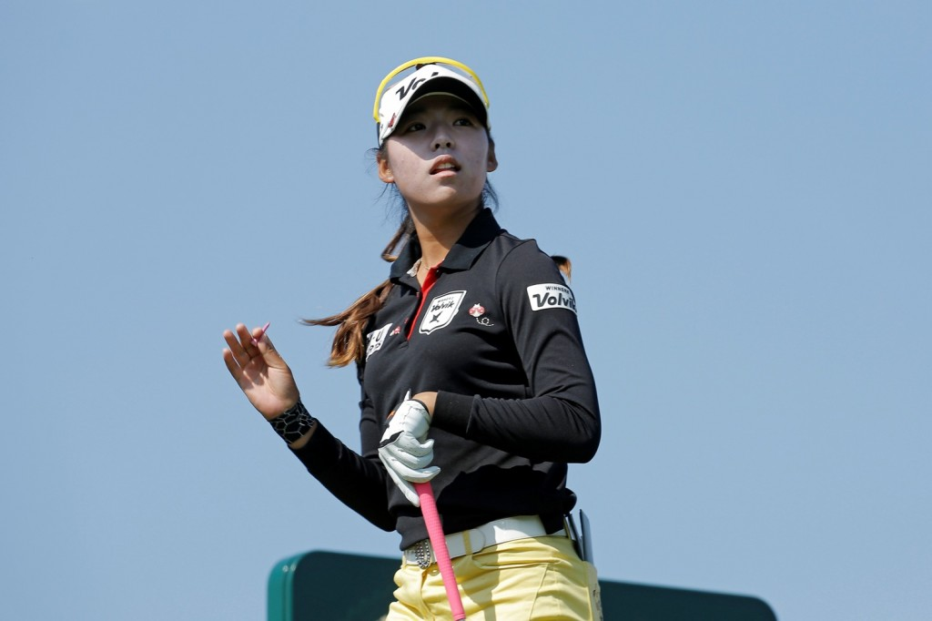 Mi Hyang Lee, of South Korea, gestures after playing on the 16th hole during the second round of the Evian Championship women's golf tournament in Evian, eastern France, Friday, Sept. 11, 2015. (AP Photo/Laurent Cipriani)