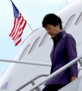 President Park Geun-hye gets out of the plane and walks down the stairs. (Yonhap)