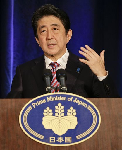 apan Prime Minister Shinzo Abe speaks during a news conference, Tuesday, Sept. 29, 2015, in New York. (AP Photo/Julie Jacobson)