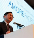 """In this Sept. 9, 2015 photo, Suh Kyung-bae, chairman and CEO of AmorePacific speaks to the media during the company's 70th anniversary media conference in Seoul, South Korea. South Korea is known around the world for Samsung phones, kimchi and Hyundai cars but ask that question in Asia and the answer might be equally be """"air cushion"""" compacts or sleeping masks. (AP Photo/Lee Jin-man)"""