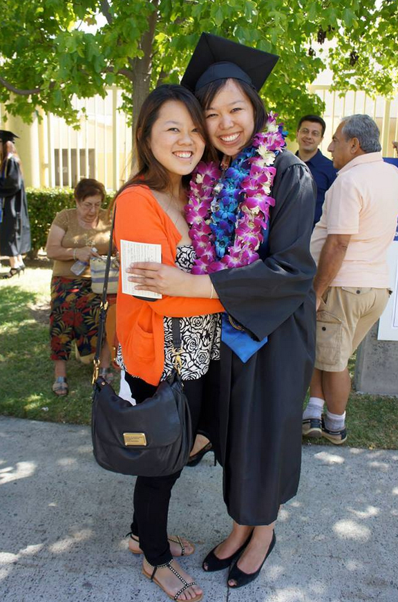 Carolyn Chang, right, graduated from the University of California, Irvine in 2013 with a degree in international studies. Her sister, left, is also a UCI grad.