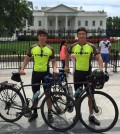 Shim Yong-seok, right, and Baek Deok-yeol stop in Washington D.C. during their bike ride across the U.S. (Facebook)