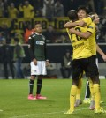 Dortmund's scorer Park Joo-ho, right, celebrates with teammate Adrian Ramos after his decisive goal during his Europa League group C match against FC Krasnodar in Dortmund, Germany, Thursday. (AP)
