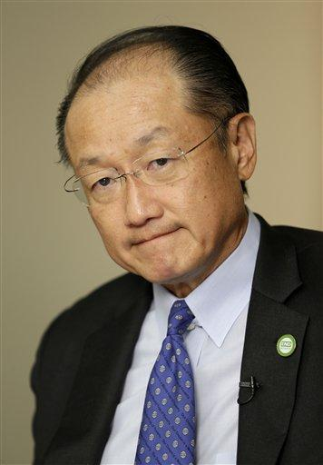 World Bank President Jim Yong Kim speaks to reporters in New York, Thursday, Sept. 24, 2015. (AP Photo/Seth Wenig)