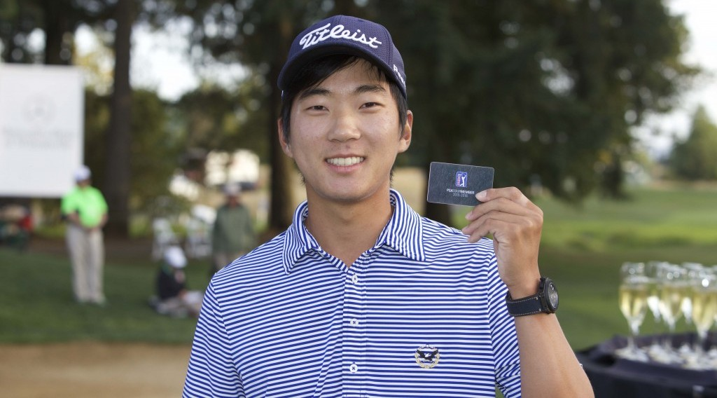 Korean American golfer Michael Kim earned his PGA Tour card for the 2015-2016 season by finishing in the Web.Com Tour's top-25 in earnings this season. (Courtesy of the PGA Tour)