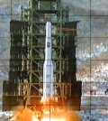 This December 2012 photo, released by North Korea's official Korean Central News Agency, shows North Korea's Unha-3 rocket being fired from the Sohae Satellite Launching Station in Cholsan, North Pyongan Province. North Korea said on Sept. 14, 2015, that it plans to launch a rocket at a time of its choosing as it has the right to conduct space research, cementing speculation over a provocation by the country around Oct. 10, the 70th anniversary of the founding of the Workers' Party. (Yonhap)