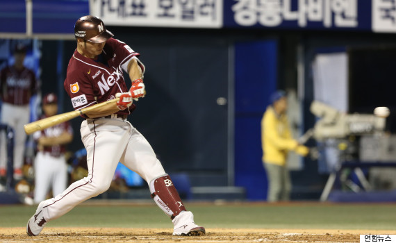 Park Byung-ho of the Nexen Heroes hits his 50th home run of the 2015 Korea Baseball Organization season against the NC Dinos in Changwon, South Korea, on Sept. 21, 2015. (Yonhap)