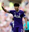 Tottenham Hotspur's Son Heung-min gestures during their English Premier League match between Sunderland and Tottenham Hotspur at the Stadium of Light, Sunderland, England, Sunday. (AP)