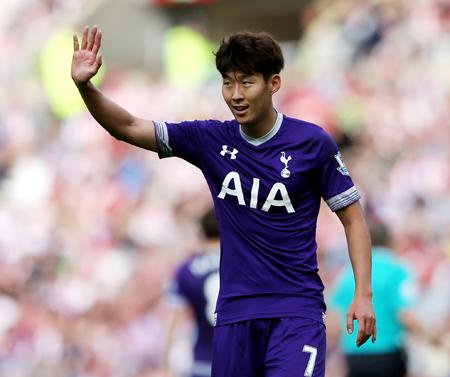 Tottenham Hotspur's Son Heung-min gestures during their English Premier League match between Sunderland and Tottenham Hotspur at the Stadium of Light, Sunderland, England, Sunday. (AP)