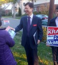 Englewood Cliffs Town Council candidate Park Myung-geun speaks to voters during a door-to-door campaign.