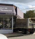 A dump truck crashed through the front doors of Harbour Hill Dry Cleaners in Long Island Tuesday.