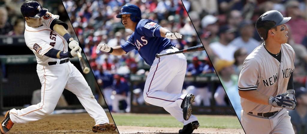 From left, Houston Astros catcher Hank Conger, Texas Rangers outfielder Choo Shin-soo and New York Yankees second baseman Robert Refsnyder. (AP Photos)