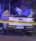 The top of a Toyota Tacoma was sheered off by an airborne car in Hacienda Heights killing two 18-year-olds. (Courtesy of KTLA/Korea Times file)