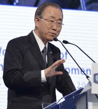 United Nations Secretary-General Ban Ki-moon speaks during the 3rd World Forum of Economic Development in Turin, Friday, Oct 16, 2015 (AP Photo/ Massimo Pinca)