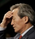 Chung Mong-joon pauses to answer questions during a news conference in Seoul, South Korea. (AP Photo/Ahn Young-joon)