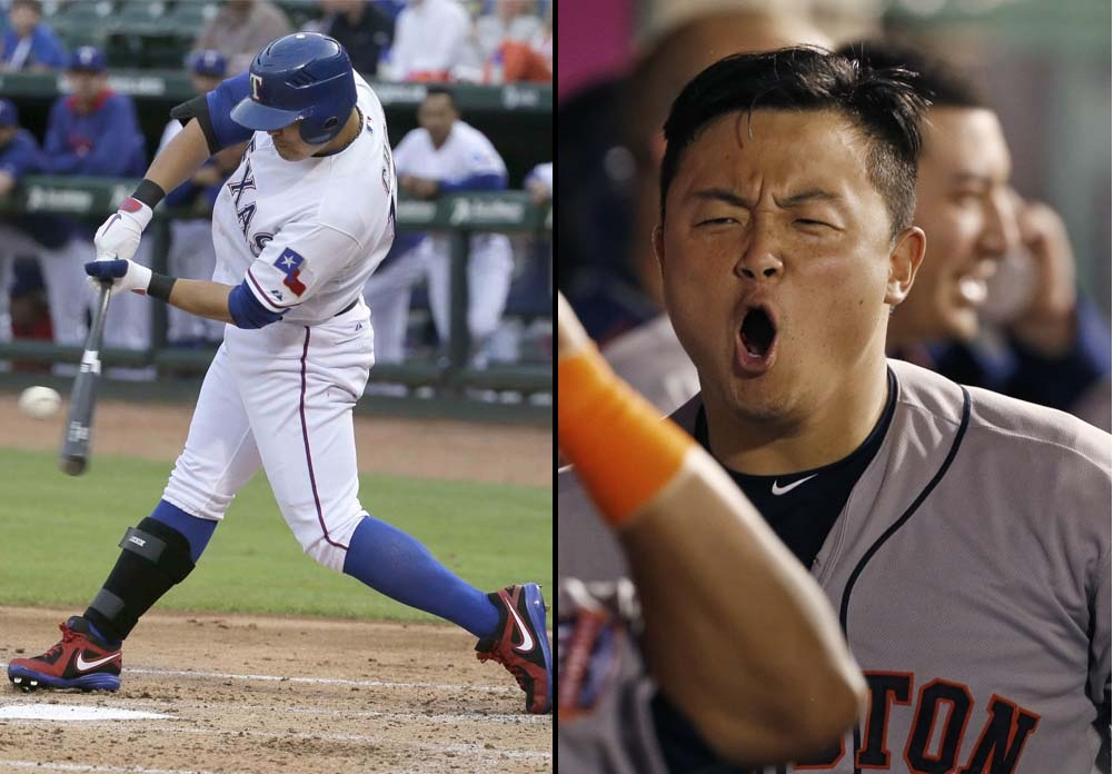 Texas Rangers outfielder Choo Shin-soo, left, and Houston Astros Catcher Hank Conger may have to duke it out in a single-game elimination game to decide to comes out on top in the American League West Division. (AP Photos)