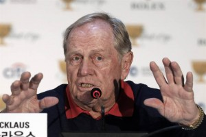 Jack Nicklaus, the designer of Jack Nicklaus Golf Club Korea, speaks during a news conference ahead of the Presidents Cup golf tournament at Jack Nicklaus Golf Club Korea in Incheon, South Korea, Wednesday, Oct. 7, 2015. (AP Photo/Woohae Cho)