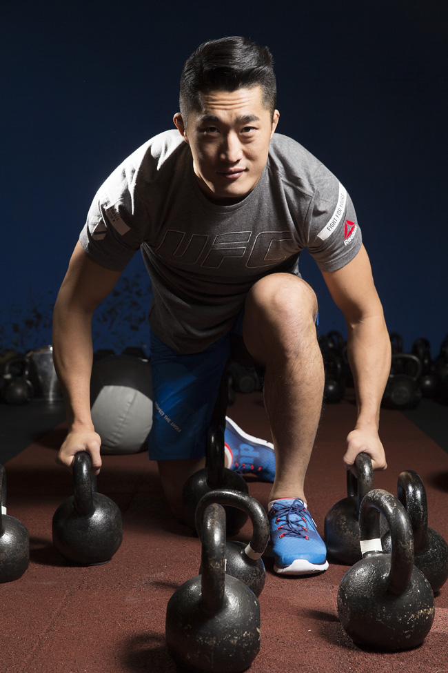 UFC fighter Kim Dong-hyun poses after an interview session with The Korea Times at Reebok Crossfit Sentinel Uptwon gym in Gangnam-gu, southern Seoul, Sunday. (Korea Times/Choi Won-suk)