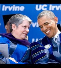 President Barack Obama, right, shares a laugh with UC President Janet Napolitano during UC Irvine's commencement ceremony at Angel Stadium in Anaheim, Calif. (AP Photo/The Orange County Register, Mindy Schauer)