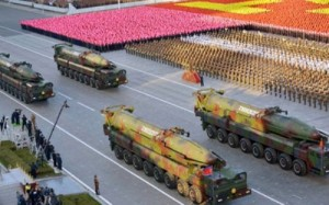 North Korea displays road-mobile intercontinental ballistic missiles, known as the KN-08, with round warheads during a military parade on Oct. 10, 2015, at Kim Il-sung Square in Pyongyang to mark the 70th anniversary of the founding of the ruling Workers' Party. (Yonhap)