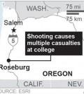 Map locates Roseburg, Oregon, where a shooting took place. (AP)