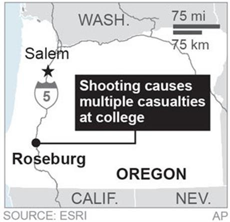 Map locates Roseburg, Oregon, where a shooting took place. (AP)