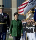 South Korean President Park Geun-hye second form left, reviews the troops during a full military honors parade to welcome her, Thursday, Oct. 15, 2015, at the Pentagon. The president will meet with President Barack Obama at the White House on Friday. (AP Photo/Manuel Balce Ceneta)