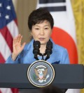 "President Park Geun-hye sent a message to the forum that now is the time to extensively make ""practical"" efforts to improve the North's dire human rights situation. (AP Photo/Pablo Martinez Monsivais)"