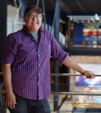 """The Good Dinosaur"" Director Peter Sohn is photographed on October 7, 2014 at Pixar Animation Studios in Emeryville, Calif. (Photo by Deborah Coleman / Pixar)"