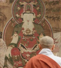 After a 10-month restoration process at Yong In University, just south of Seoul, this Buddhist painting from the Joseon Dynasty (1392-1910) will finally make its way back to the U.S. next Friday, researchers said. (Yonhap)