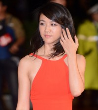 Tang Wei attends the red carpet opening of the Busan International Film Festival Thursday. (Newsis)