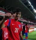 Oh Se-hun of South Korea celebrates his winning goal against Guinea at the FIFA U-17 World Cup in Chile on Oct. 20, 2015. (photo courtesy of the Korea Football Association / Yonhap)