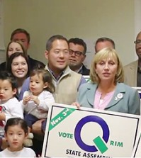 New Jersey Lt. Gov. Kim Guadagno third from right, visits District 27 candidate Wonkyu Rim to support his campaign. (Photo courtesy of Rim campaign)