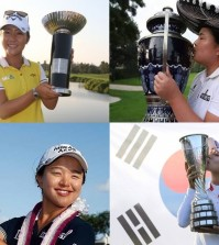 Clockwise from top left, World No.1 Lydia Ko, No. 2 Inbee Park, Rookie of the Year runner-up Hyo Joo Kim, the Rooke of the Year Sei-young Kim.