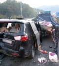 "A five-car accident involving two TV show ""Real Men"" staff vehicles occurred on the Daegu-Pohang Expressway in South Korea Monday. (Yonhap)"