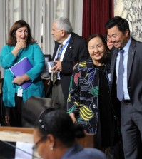 Kay Song, of the Korean American National Museum board of directors, third from left, celebrates the passing of the museum proposal by Los Angeles City Council with District 4 representative David Ryu. (Park Sang-hyuk/Korea Times)