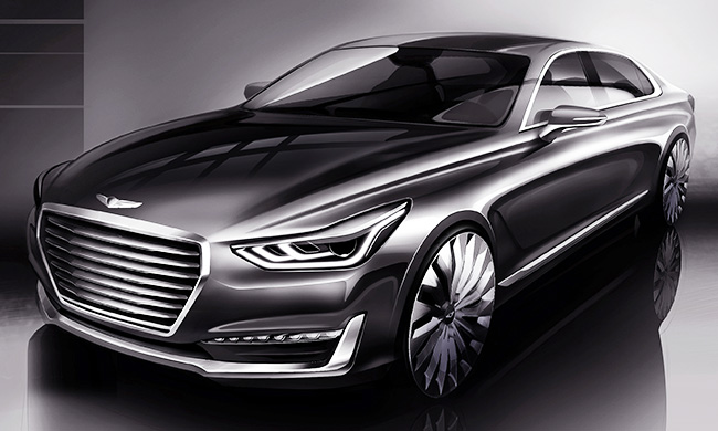 The Hyundai EQ900, globally named the G90, was unveiled, Tuesday. The partially autonomous luxury sedan will be the first car bearing the new Genesis brand. (Courtesy of Hyundai Motor)