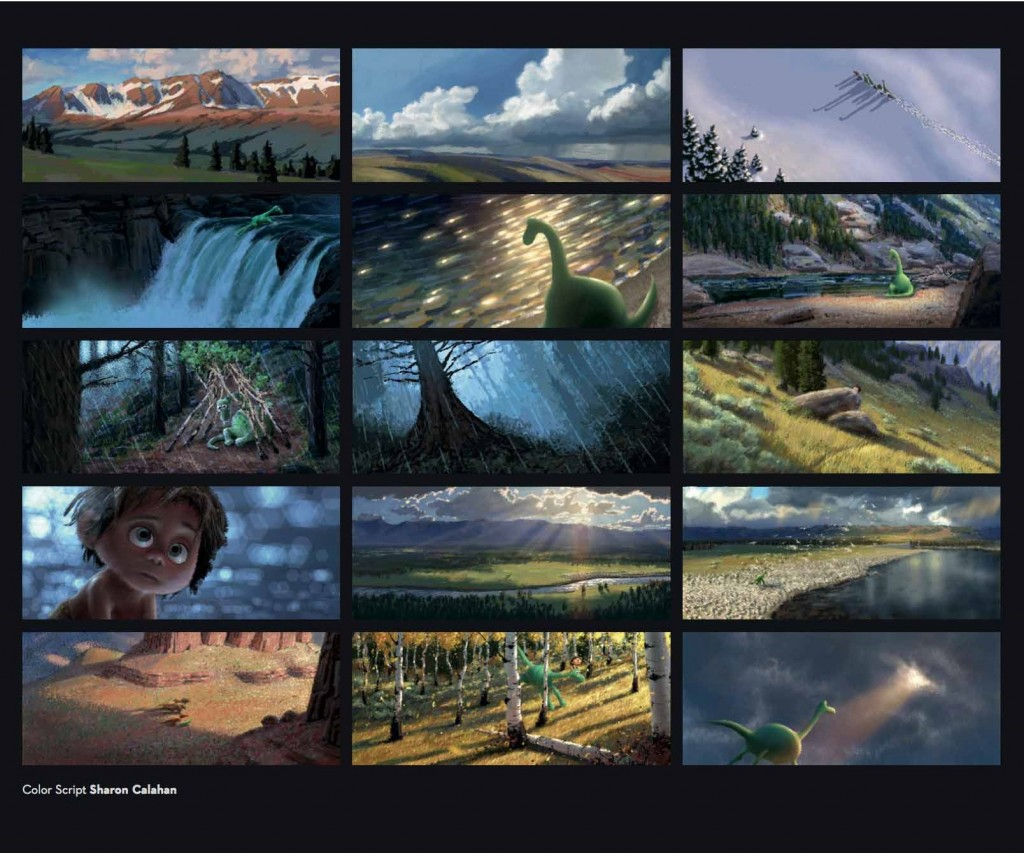 """The Good Dinosaur"" color script by Sharon Calahan. (Courtesy of Disney/Pixar)"