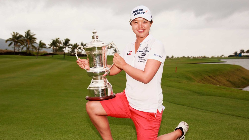 Kim Sei-young of South Korea holds her trophy after winning the Blue Bay LPGA in Hainan Island, China on Nov. 1, 2015. (AP Photo/Adam Hunger)