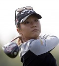 Korean New Zealander Lydia Ko watches a tee shot. (AP Photo/Lee Jin-man)