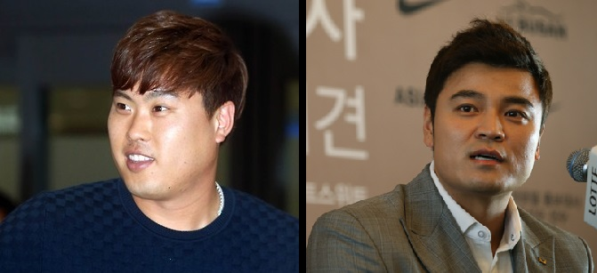 Los Angeles Dodgers' pitcher Ryu Hyun-jin, left, Texas Rangers' outfielder Choo Shin-soo. (Yonhap)