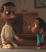 "In Pixar Animation Studios' ""Sanjay's Super Team,"" a first-generation Indian-American boy whose love for western pop culture comes into conflict with his father's traditions. He embarks on a journey he never imagined, returning with a new perspective they can both embrace. Directed by Sanjay Patel and produced by Nicole Paradis Grindle, the new short opens in front of Disney-Pixar's ""The Good Dinosaur ""on Nov. 25, 2015. (Disney/Pixar)"