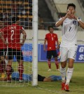 Son Heung-min celebrates after scoring S.Korea's third goal. (Yonhap)