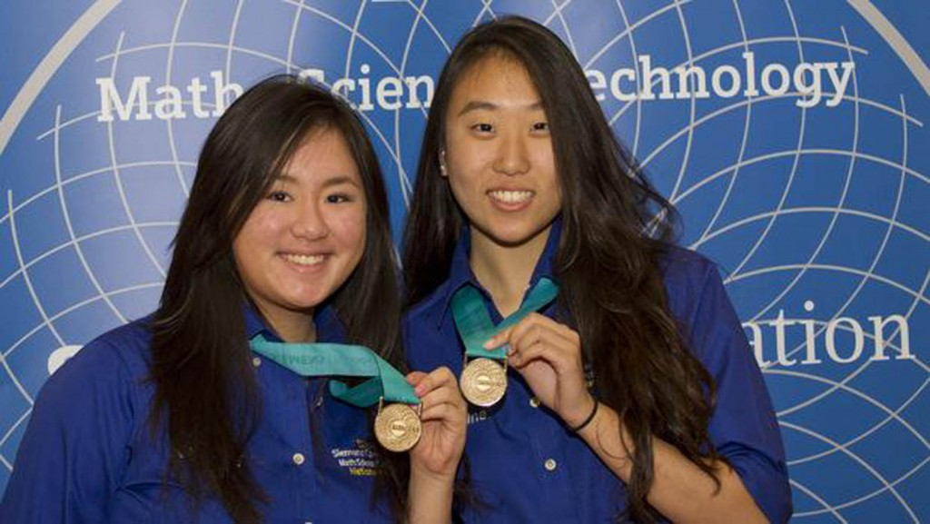 Manhasset High School seniors Kimberly Te, left, and Christine Yoo, right, won the $100,000 team grand prize at Siemens Competition this year.