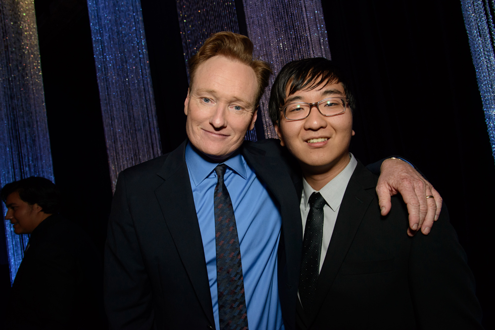 David Cho, right, with TV host Conan O'Brien Thursday night, Dec. 3, 2015, at the Children's Defense Fund's Beat the Odds gala (Children's Defense Fund)