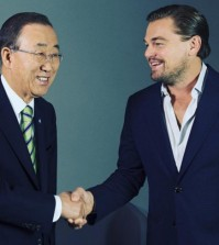 United Nations Secretary-General Ban Ki-moon, left, and actor Leonardo DiCaprio. (Instagram screen capture)
