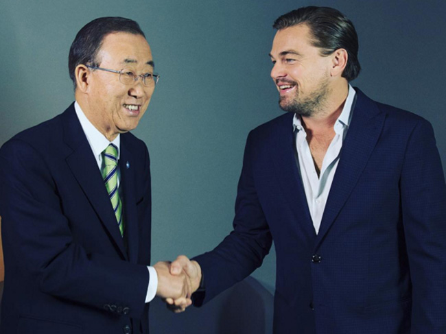 United Nations Secretary-General Ban Ki-moon, left, and actor Leonardo DiCaprio. (Instagram screen capture)