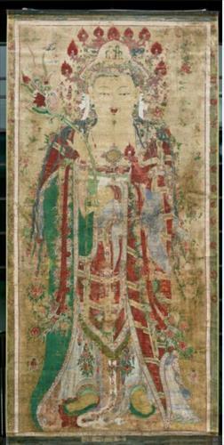 "Ancient Buddhist scroll painting ""Cheongnyangsan Gwaebultaeng."" (Yonhap)"