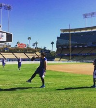 Ryu Hyun-jin posted on Instagram a photo and video of himself doing a long-toss at Dodger Stadium Thursday. He said he felt good after being stretched out to about 30 yards for the first time since the surgery.   (Instagram photo)