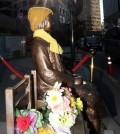 "A statue of a young girl, symbolizing the victims of Japan's sexual enslavement, is seen in this photo taken on Dec. 28, 2015. The statue, set up in front of the Japanese embassy in Seoul, has become an issue in the agreement announced on the day by South Korea and Japan to end their confrontation over ""comfort women."" Japan is pressing for it to be relocated elsewhere, and South Korea said it will take into account Japan's concerns and try to solve the situation in an appropriate manner. (Yonhap)"